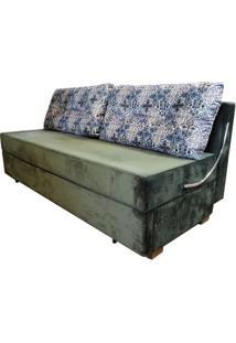 Sofa Cama Omega Com 2 Lugares Assento Veludo Verde Musgo Base Madeira - 46468 Sun House