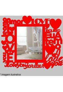 Espelho Love- Espelhado & Vermelho- 35X30X5Cm- Ccia Laser