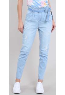 66e1453336 CEA. Calça Jeans Feminina Sawary Mom Com Faixa E Rasgos Azul Claro