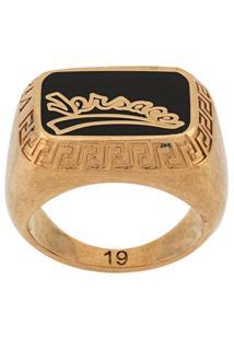 Versace Anel Com Padronagem Greca - Dourado