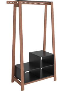 Guarda-Roupa Closet Modulado Ábaco Amêndoa E Preto