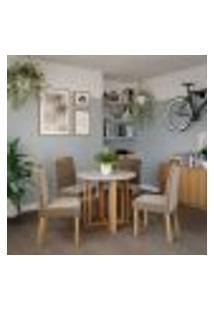 Conjunto De Mesa De Jantar Flora Ii Com Tampo Off White E 4 Cadeiras Estofadas Laura Suede Joli E Madeira