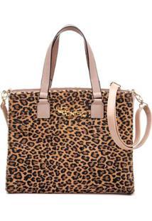 Bolsa Handbag Alice Monteiro Tiracolo Animal Print Onça - Feminino-Nude