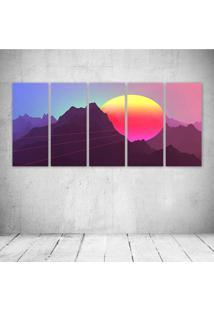 Quadro Decorativo - Retrowave Dimensional Artwork Neon - Composto De 5 Quadros