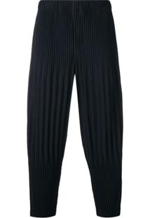 Homme Plissé Issey Miyake Micro Pleat Drop Crotch Trousers - Azul