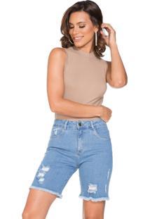 Bermuda Jeans Lúcia Figueredo Confort Azul - Tricae