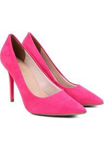Scarpin Ala Suede Bico Fino Feminino - Feminino-Rosa Escuro