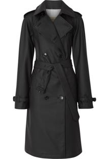 Burberry Trench Coat Impermeável Com Logo - Preto