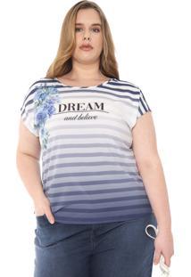Blusa Cativa Plus Estampada Azul-Marinho/Branca
