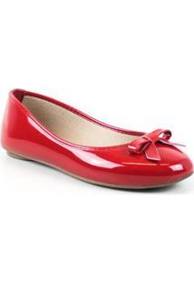 Sapatilha Tag Shoes Verniz Laço Feminino - Feminino-Vermelho