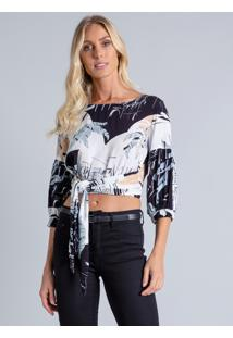 Blusa Cropped Manga 3/4 Estampa Los Angeles - Lez A Lez