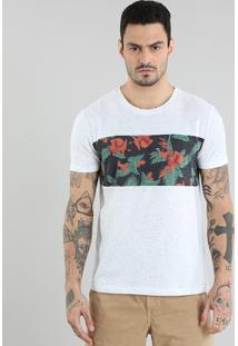 Camiseta Com Recorte Estampado Floral Cinza Mescla Claro