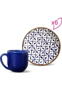 Jogo De Xícara De Café Coup- Branco & Azul- 6Pçsporto Brasil