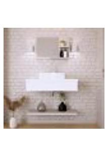 Conjunto Para Banheiro Bancada Com Cuba Aria 41 Retangular, Prateleira E Espelheira City 806 Branco Chess