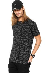 Camiseta New Era Youth Full Print Etique Preta
