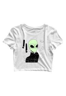 Blusa Blusinha Feminina Cropped Tshirt Camiseta Intelectual Alien Branco
