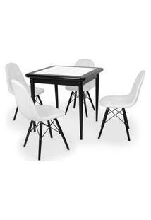 Conjunto Mesa De Jantar Em Madeira Preto Prime Com Azulejo + 4 Cadeiras Botonê - Branco