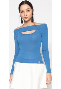 Blusa Ombro A Ombro Com Vazado- Azul Escuro- Miss E Miss & Misses