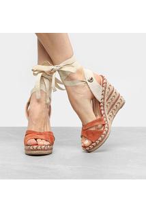 Sandália Anabela Couro Shoestock Espadrille Amarração Feminina - Feminino-Caramelo