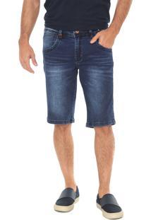 Bermuda Jeans Zune Reta Five Pockets Azul