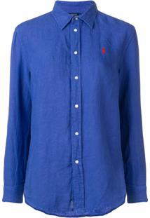 Camisa Azul Polo Ralph Lauren feminina  522a0998bd4