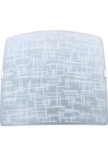 Plafon Sobrepor Quadrado Grande Textura Branca Bivolt