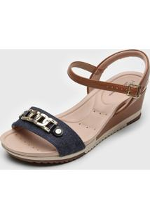 Sandália Modare Corrente Azul-Marinho/Caramelo