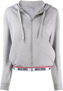 Moschino Cardigan Com Logo - Cinza