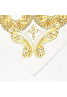 Lenço Arabescos Em Seda - Off White & Amarelo - 90X9Versace
