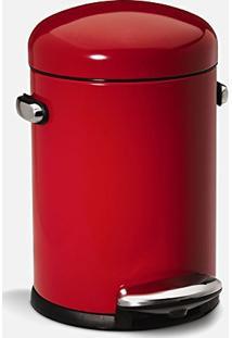 Lixeira Retrô Vermelha 4,5L Aço Inox Simplehuman