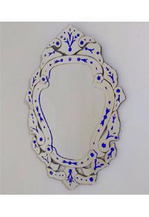 Espelho Veneziano Decorativo, Sala, Margarida Plus Azul 61X88
