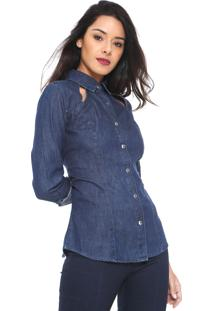 Camisa Jeans Denuncia Recortes Azul-Marinho