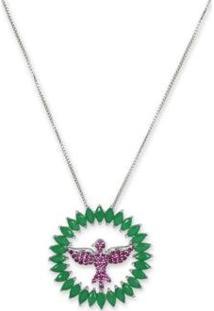 Colar Mandala Espírito Santo Com Zircônias Banho Em Ródio - Feminino-Pink+Verde