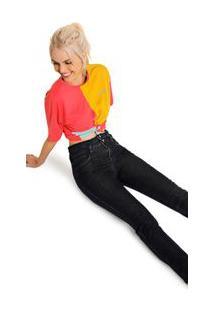 Calça Zinco Skinny High Waist Cós Alto Detalhe Cós Jeans