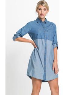 Vestido Chemise Jeans Bicolor Azul Médio