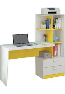 Escrivaninha/Mesa Para Computador Com 2 Gavetas Elisa Branco/Amarelo - Permóbili Móveis