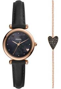 Relógio Fossil Carlie Mini Feminino - Feminino-Preto+Bronze