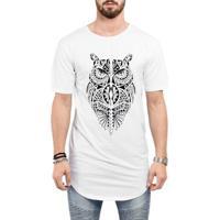 097417849d Camiseta Criativa Urbana Long Line Oversized Coruja Tribal Tattoo Corpo  Inteiro - Masculino