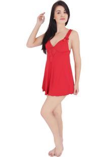 Camisola Lábia De Lolita Recorte Em Renda Vermelha