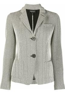 Emporio Armani Zigzag Patterned Notched Lapel Blazer - Branco