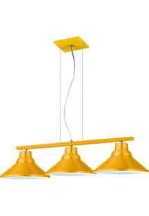 Pendente 6033 Redondo 3 Lâmpadas Amarelo Bivolt Pantoja&Carmona