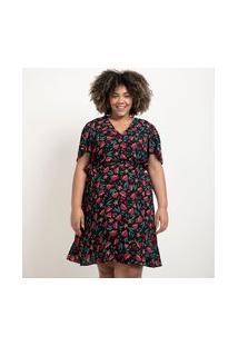 Vestido Curto Em Crepe Floral Com Cinto Faixa Curve & Plus Size | Ashua Curve E Plus Size | Preto | G