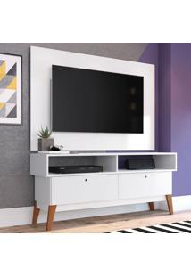 Rack Com Painel Para Tv Até 49 Polegadas Míconos Branco E Marrom 136 Cm