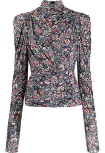 Isabel Marant Blusa Floral Com Franzido - Preto