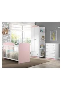 Quarto Infantil Completo Joáo E Maria Multimóveis Branco/Rosa Com Berço + Guarda Roupa + Cômoda Branco