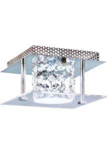 Plafon Glacial Cristal Led 15X15Cm 1X10W 220V Acrílico Jateado Com Cristais Bronzearte