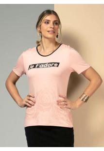 Blusa Rosa Com Manga Curta E Estampa Localizada