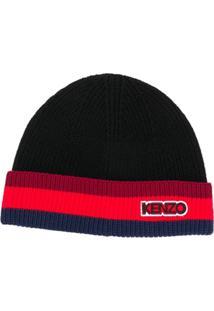 Kenzo Gorro Com Logo Bordado - Preto
