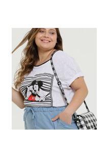 Blusa Plus Size Feminina Mickey Manga Curta Disney