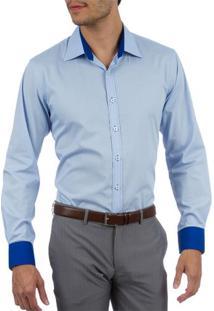 Camisa Social Masculina Azul Lisa Upper - 5